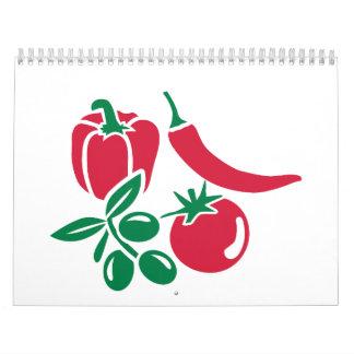 Chile verde oliva del paprika del tomate de las calendarios de pared