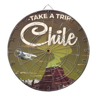 Chile Volcano vintage travel poster Dartboards