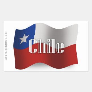 Chile Waving Flag Rectangular Sticker