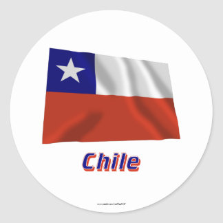 Chile Waving Flag with Name Sticker