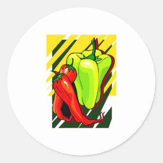 Chile y amarillo de las pimientas en BG amarilla Pegatina Redonda