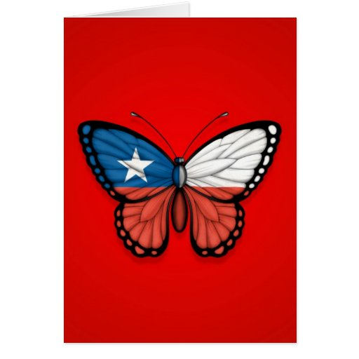 Chilean Butterfly Flag on Red Cards