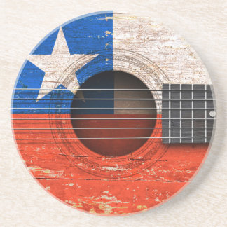 Chilean Flag on Old Acoustic Guitar Coasters