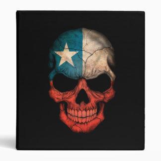 Chilean Flag Skull on Black Vinyl Binder