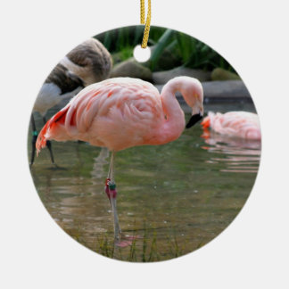 Chilean Flamingo Double-Sided Ceramic Round Christmas Ornament
