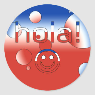 Chilean Gifts : Hello / Hola + Smiley Face Classic Round Sticker