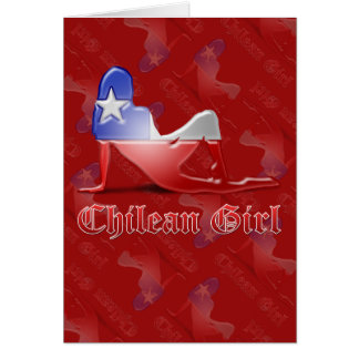 Chilean Girl Silhouette Flag Card