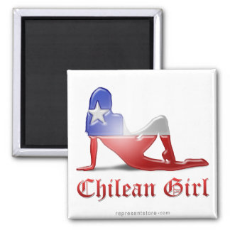 Chilean Girl Silhouette Flag 2 Inch Square Magnet