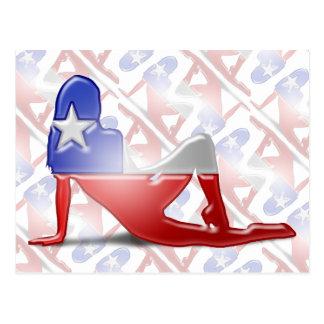 Chilean Girl Silhouette Flag Postcard