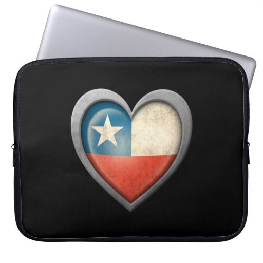Chilean Heart Flag with Metal Effect Laptop Computer Sleeve