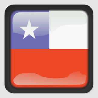 Chilean polished flag square sticker