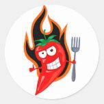Chiles calientes etiqueta redonda