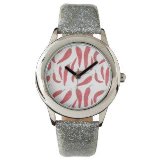 chiles candentes de la acuarela relojes de pulsera