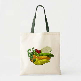 Chiles colors and limes budget tote bag