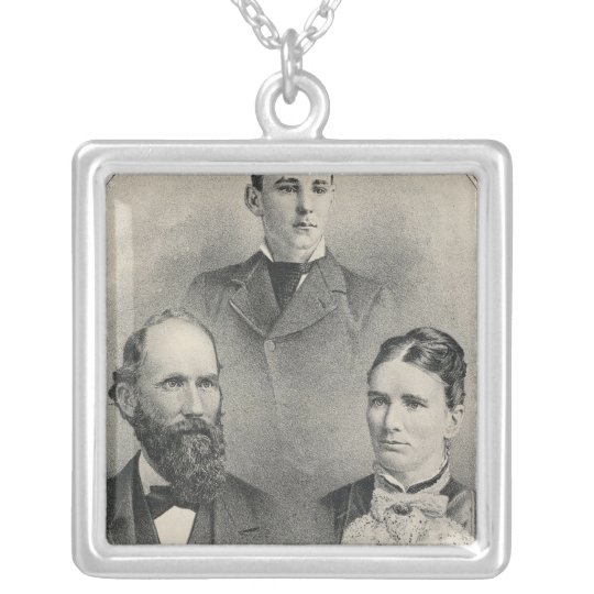 Chiles family portraits silver plated necklace