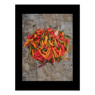 Chiles in Yellow, Red & Green w cut stone back Poster