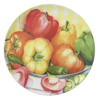 Chiles multicolores en acuarelas platos para fiestas