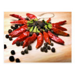 Chili and pepper postcard