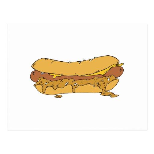 chili cheese hot dog postcard