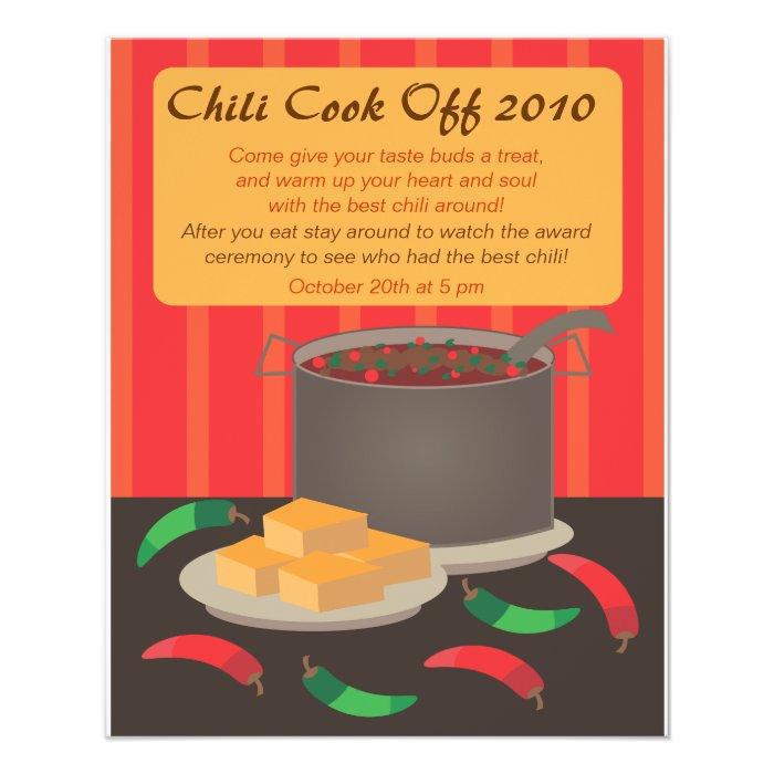 chili cook off announcment flyer zazzle. Black Bedroom Furniture Sets. Home Design Ideas