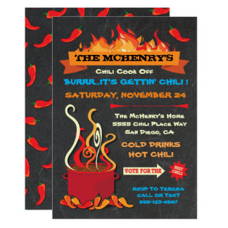 CHILI COOK OFF Chalkboard Party Poster Card