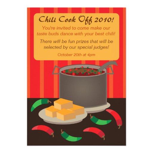 Chili Cook Off Invitation Announcement 5quot X