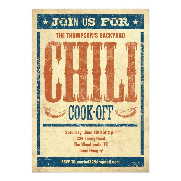 Chili Cook Off Invitations