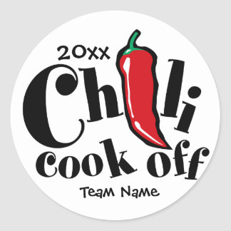 Chili Cook Off Round Stickers