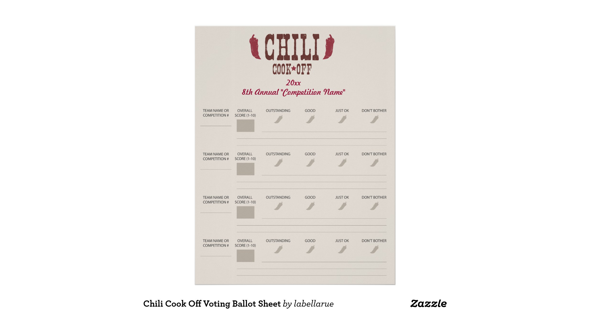 chili cook off voting ballot sheet letterhead