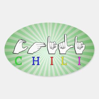 CHILI  NAME SIGN ASL FINGERSPELLED OVAL STICKER