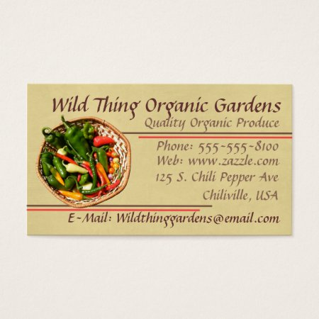 Organic Chilli Pepper Farming Business Cards