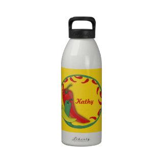 Chili Pepper Circle Frame Reusable Water Bottles