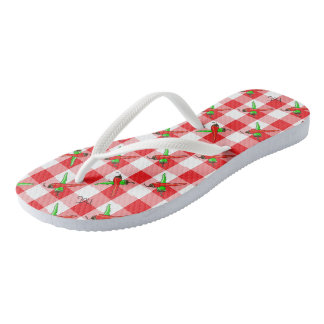 Chili Pepper Gingham Flip Flops