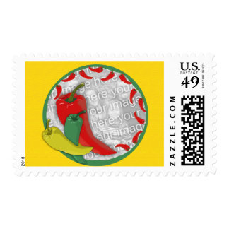 Chili Pepper Group Circle Frame2 Postage Stamp