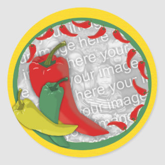 Chili Pepper Group Circle Frame2 Round Stickers