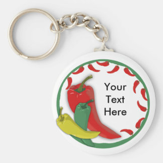 Chili Pepper Group Circle Frame3 Basic Round Button Keychain