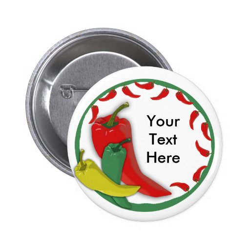 Chili Pepper Group Circle Frame3 Pinback Buttons