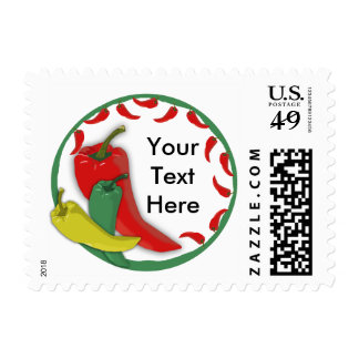 Chili Pepper Group Circle Frame3 Postage Stamp