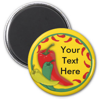 Chili Pepper Group Circle Frame 2 Inch Round Magnet