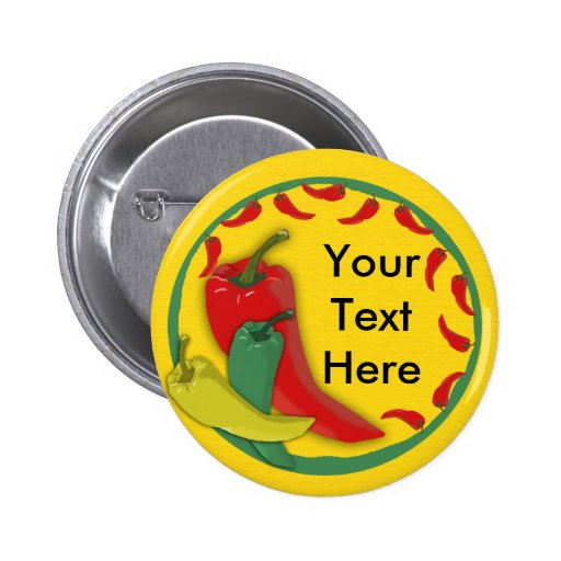 Chili Pepper Group Circle Frame Pinback Buttons