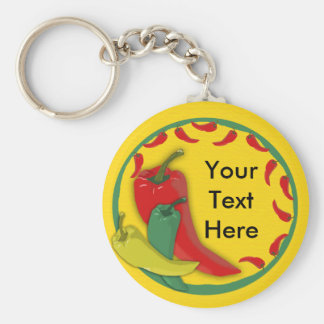 Chili Pepper Group Circle Frame Basic Round Button Keychain