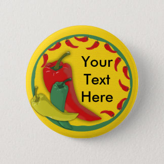 Chili Pepper Group Circle Frame Pinback Button