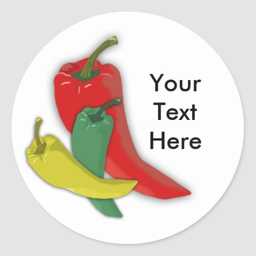 Chili Pepper Group Round Stickers