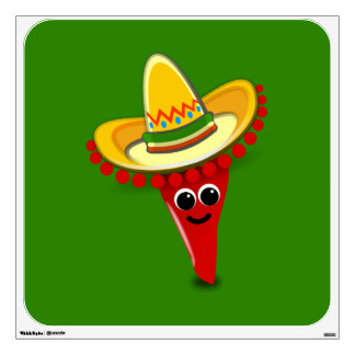 Chili Pepper in a Sombrero Wall Decal