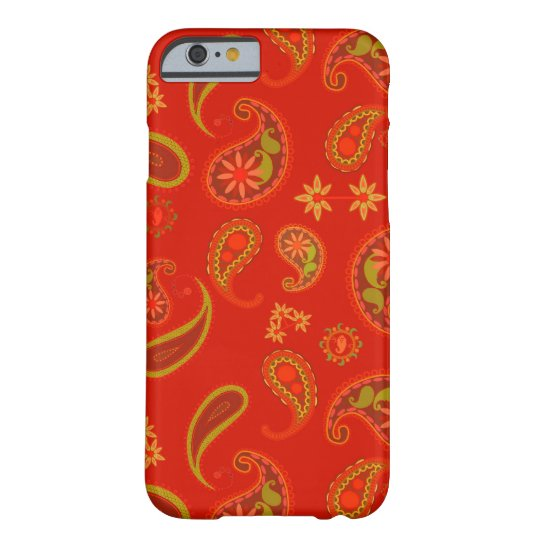 Chili Pepper Red and Lime Green Paisley Pattern Barely There iPhone 6 Case
