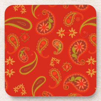 Chili Pepper Red and Lime Green Paisley Pattern Beverage Coaster
