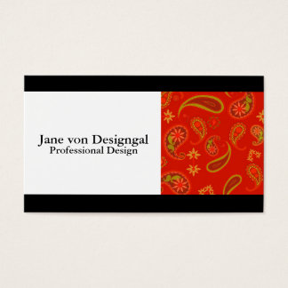 Chili Pepper Red and Lime Green Paisley Pattern Business Card