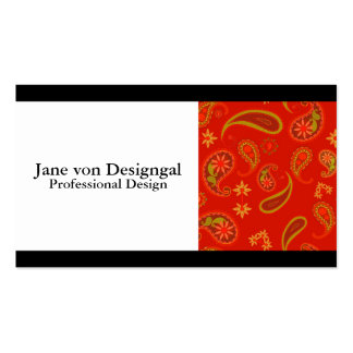 Chili Pepper Red and Lime Green Paisley Pattern Business Card Templates