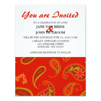Chili Pepper Red and Lime Green Paisley Pattern Card