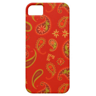 Chili Pepper Red and Lime Green Paisley Pattern iPhone 5 Cases